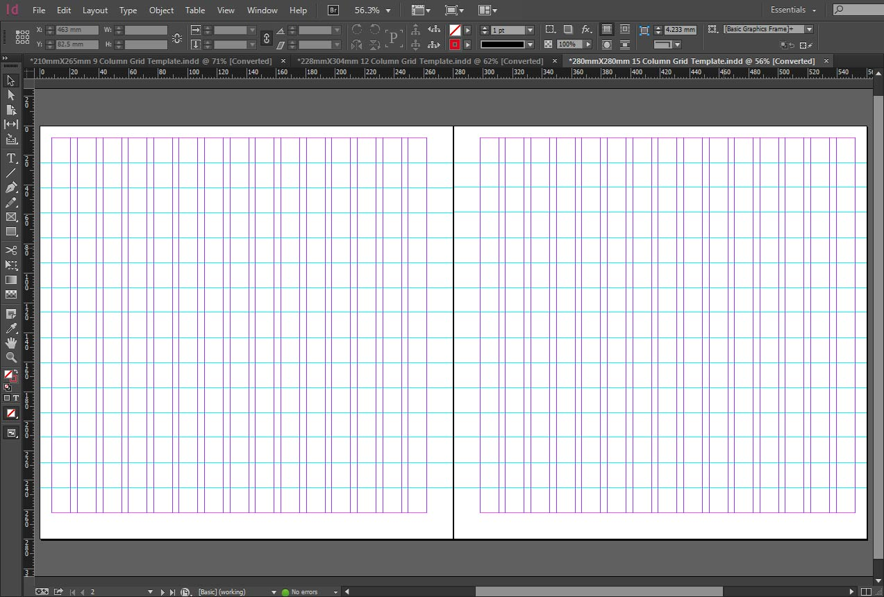 indesign 15 column grid template
