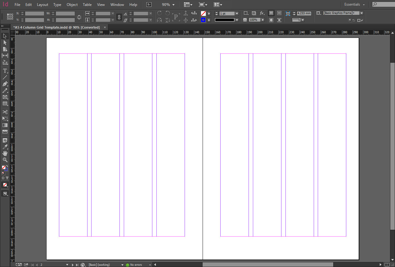 indesign a5 4 column grid template