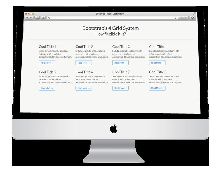 bootstrap 4 default 12 column responsive grid system