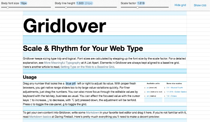 web typography system with baseline grid: free web tool