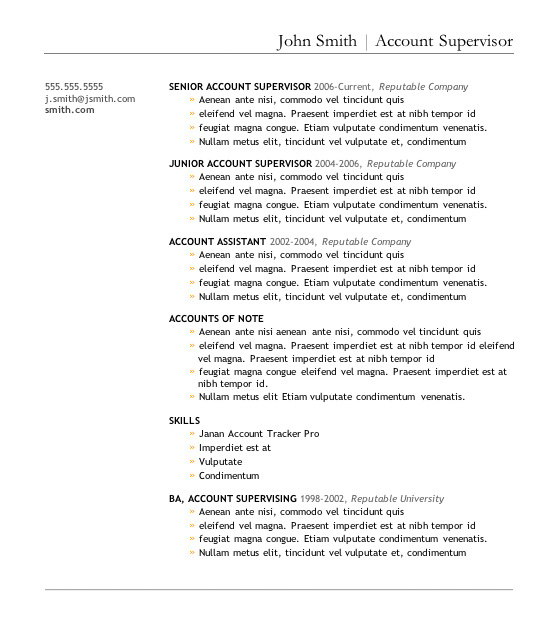 bulleted resume template - Free Resume Templates In Word