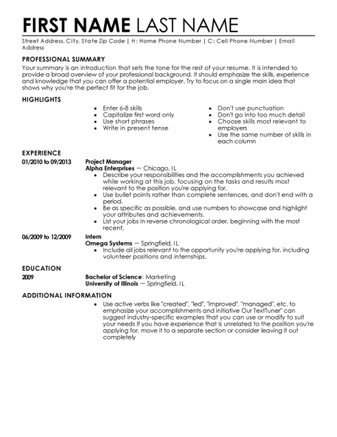 Entry Level Resume Template  How To Write A Short Resume