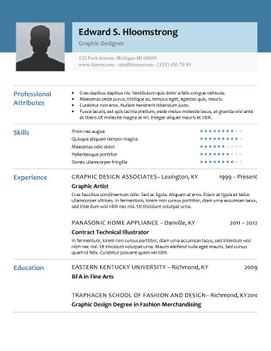 Glimmer Resume Template  Resume With Photo Template