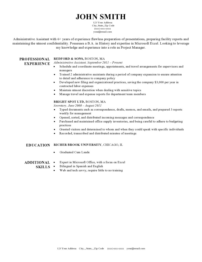 Harvard Resume Template  Resume Header Template