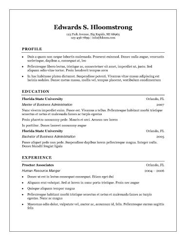 traditional resume template