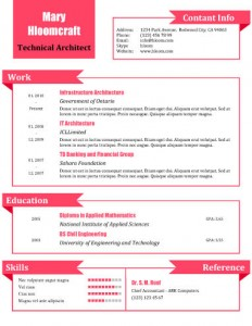 Pink resume template