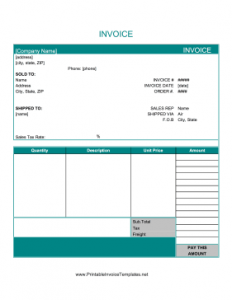 Free Online Printable Basic Invoice Template
