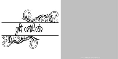 printable black and white design gift certificate