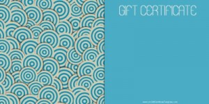 Printable Blue Spirals Gift Card