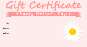 Printable Mothers day gift certificate
