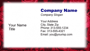 Free Online Printable Rose Border Business Card Template