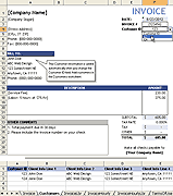 Printable Service Invoice with Customer List Template