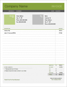 Printable Free Simple Invoice Template