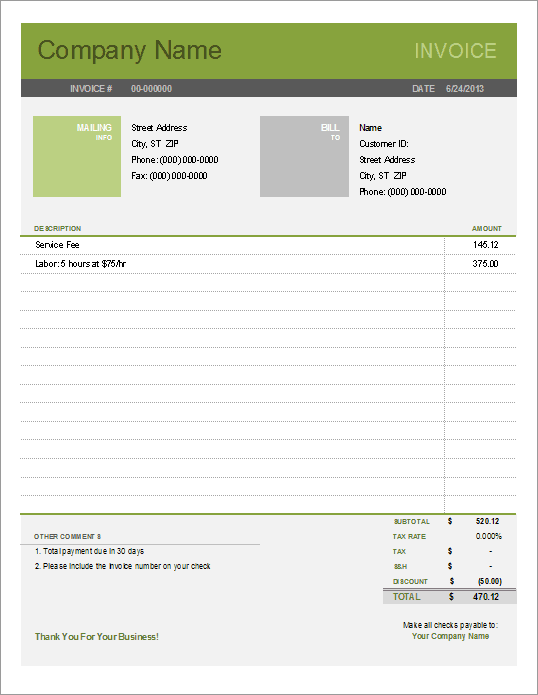 Printable Free Simple Invoice Template  Invoice Style