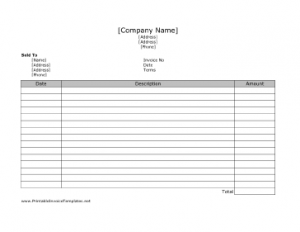 Free Online Printable Simple Invoice Template
