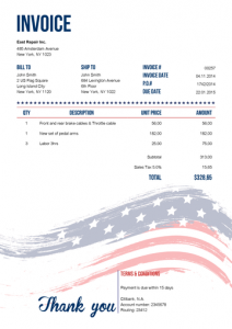 Printable Free Stars and Stripes Invoice Template