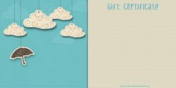 Printable Umbrella and Clouds Gift Certificate Template