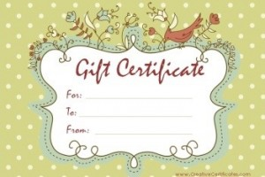 Brown Bird Gift Certificate