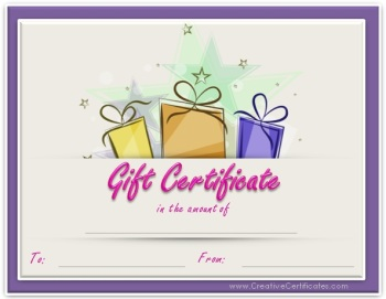 printable three gifts gift certificate