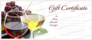 Printable wine and cherries gift certificate