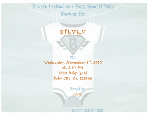 Free Blue Onesie baby shower invitation template