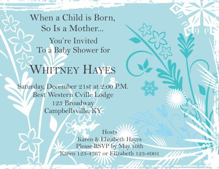 Free Blue And White Flowers Baby Shower Invitation Template