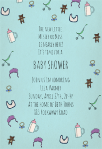 Free Bottles and bibs baby shower invitation template