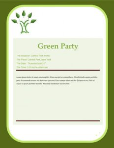 Free Eco theme party invitation