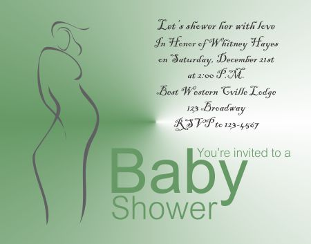 Free Green Woman Baby Shower Invitation Template  Baby Shower Invitation Templates For Microsoft Word
