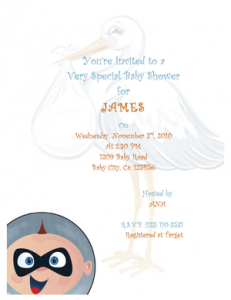 Free Incredibles baby shower invitation template