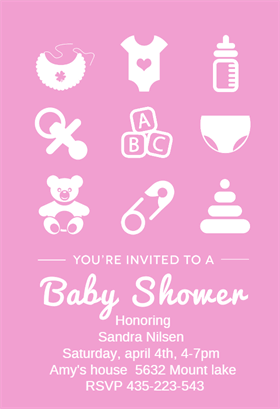 free pink baby items baby shower invitation template