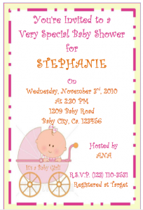 Free Pink crib baby shower invitations