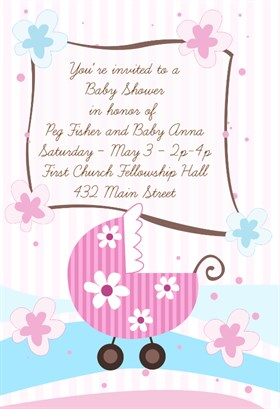 Free Pink Flowery Pram Baby Shower Invitation Template Within Free Online Baby Shower Invitations Templates
