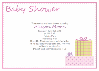 free pink gifts baby shower invitations