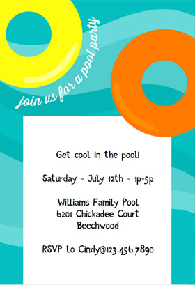Free Pool Party Invitation Template  Invitation For Party Template