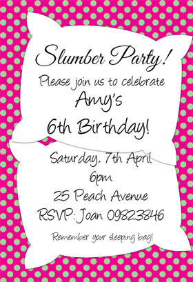 free slumber party invitation preview