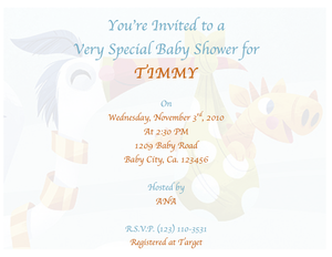 Free Stork and baby giraffe baby shower invitation template