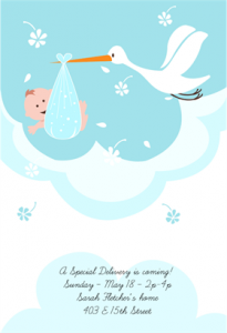 Free Stork delivery baby shower invitation template