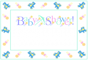Free Teddy bear border baby shower invitation