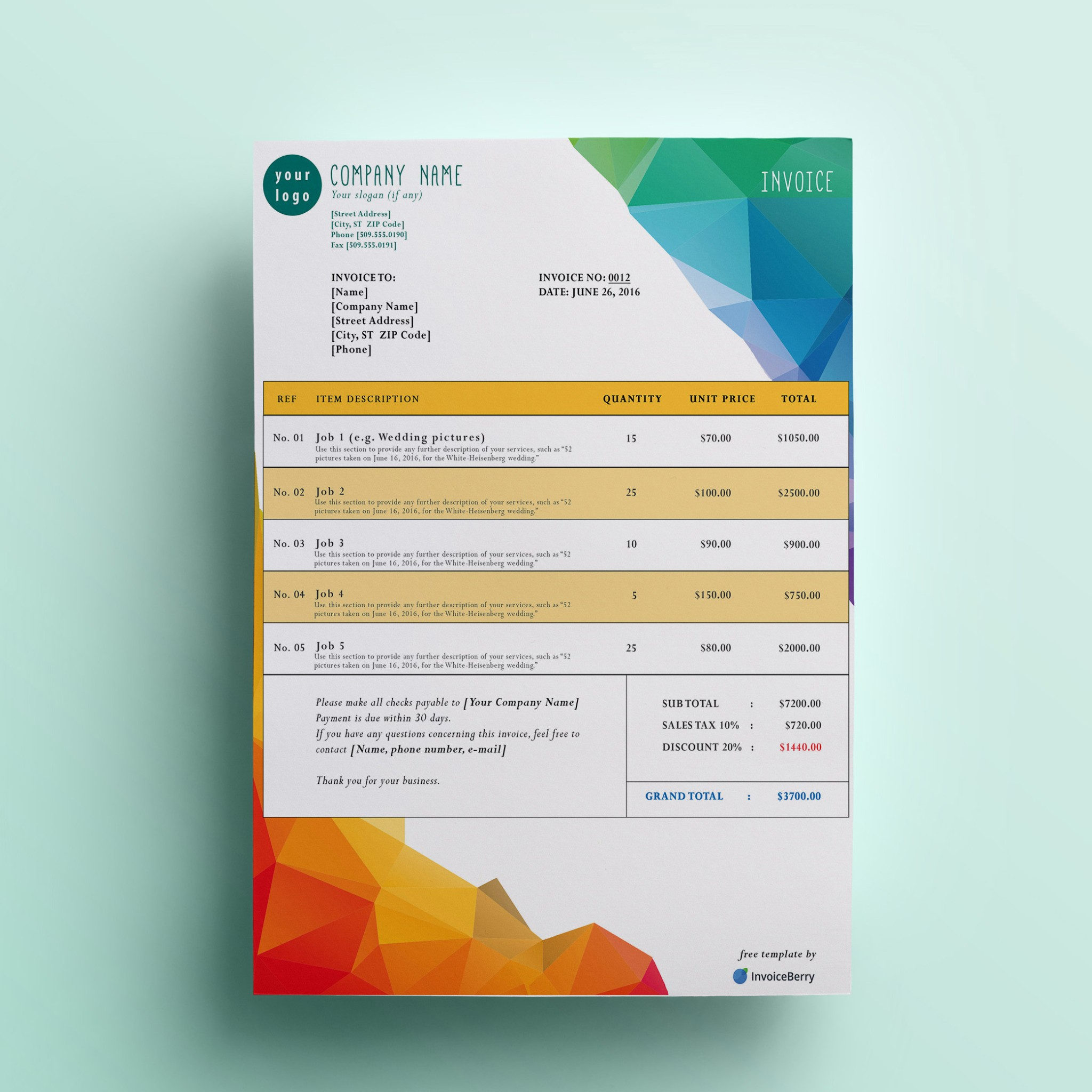 Free Invoice Templates By InvoiceBerry The Grid System - Free creative invoice template cheap online stores