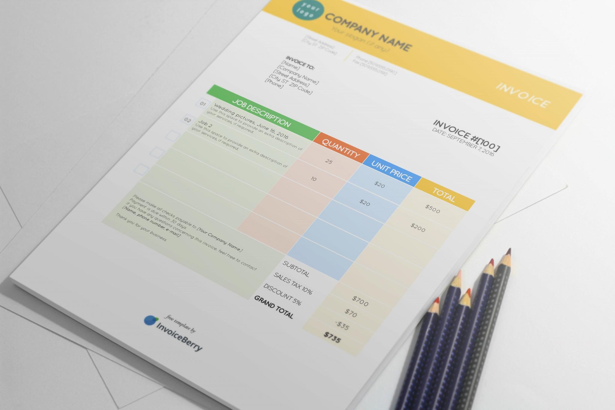 colorstationery invoice template by invoiceberry