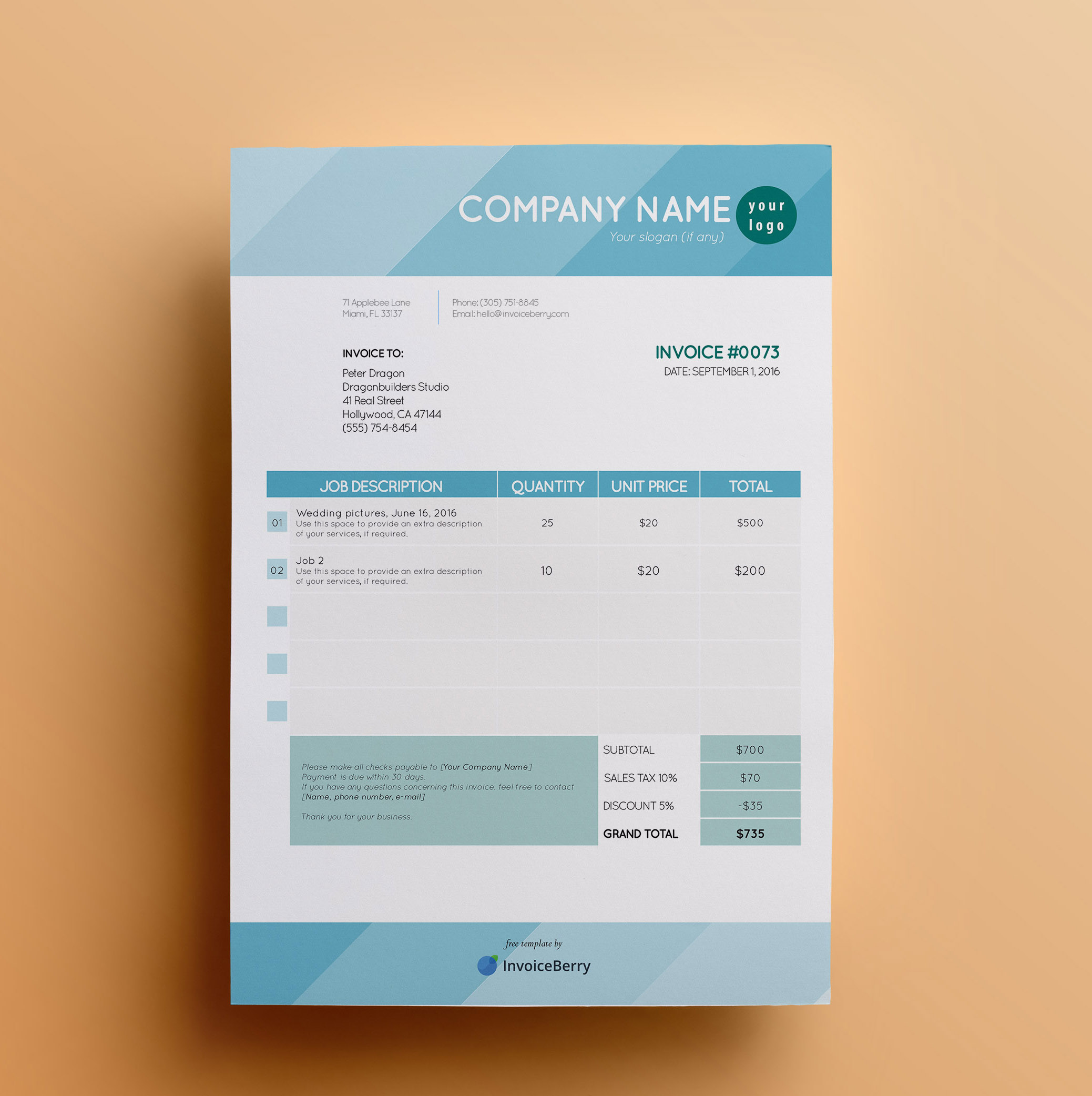 ShadesofBlue Invoice Template By Invoiceberry  Invoice Design Template