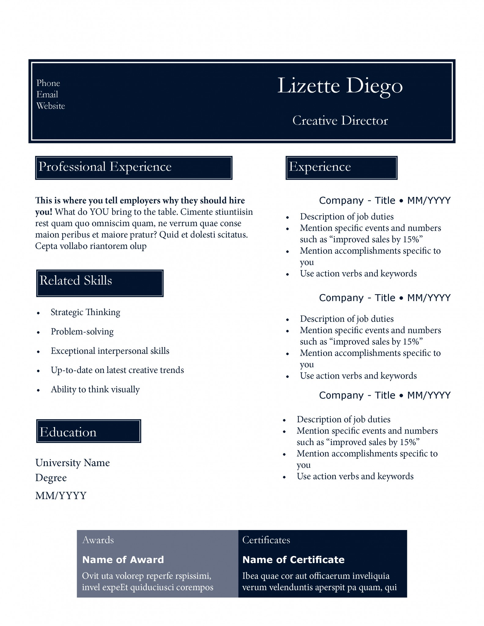 Great Blue Resume Template By TheGridSystem  New Resume Styles