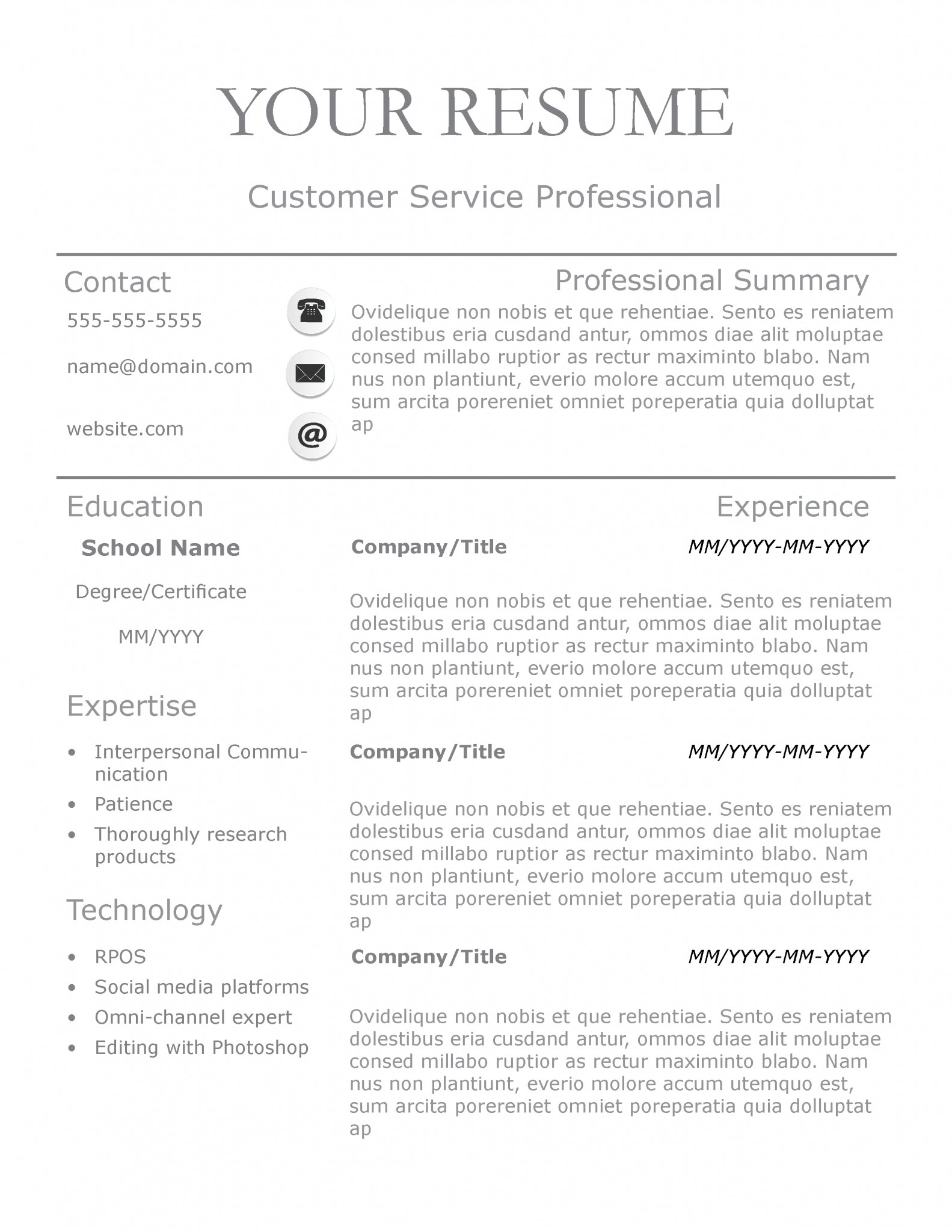 Traditional Resume Resume Example Resume Templates For Nanny Nanny