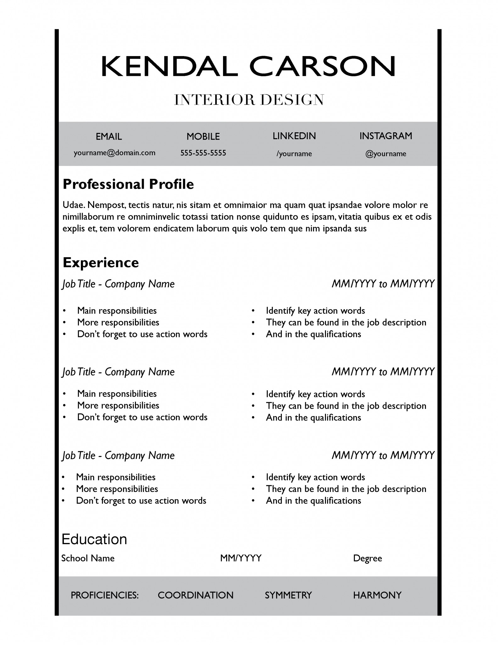 New Black Resume Template By TheGridSystem  New Resume Templates