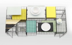table with grid design