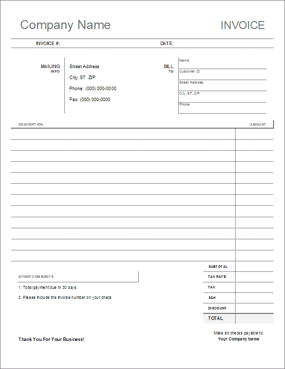 printable free invoice templates the grid system